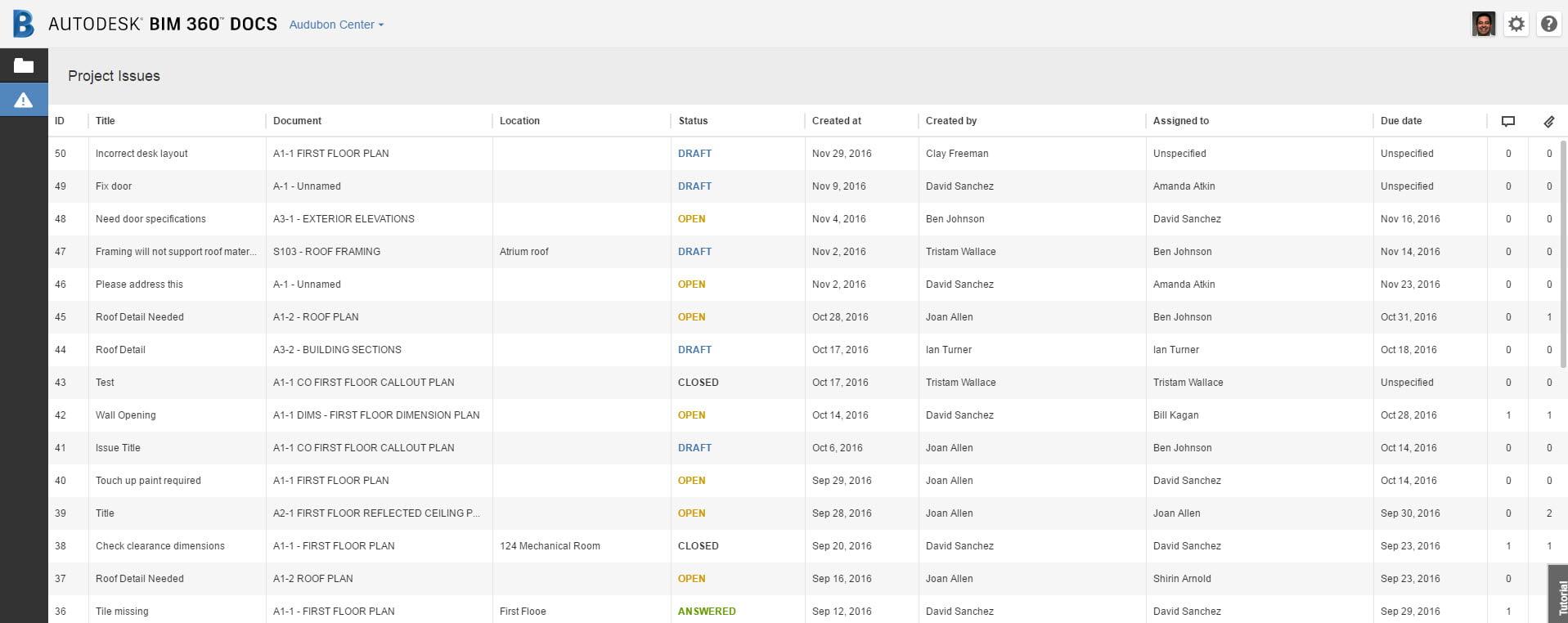 Autodesk BIM 360 Docs Project Issues