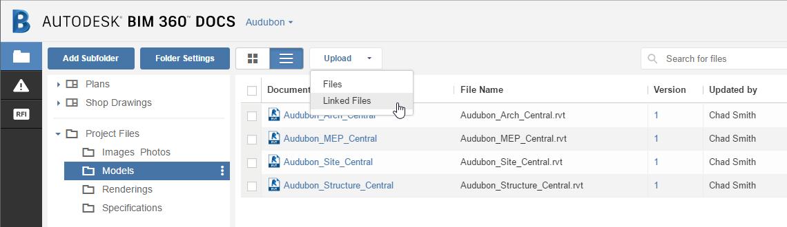 Autodesk BIM 360 Docs Linked Files