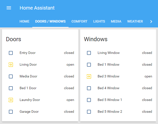 Home Assistant door and window states